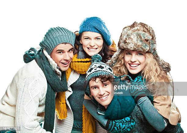 Young adults in winter clothes