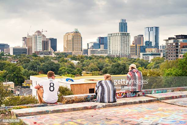 Young Adults Relax at Hope Outdoor Gallery in Austin Texas