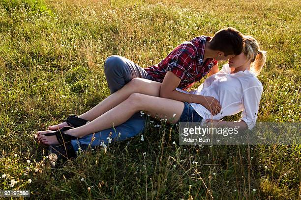 A young affectionate couple in a park