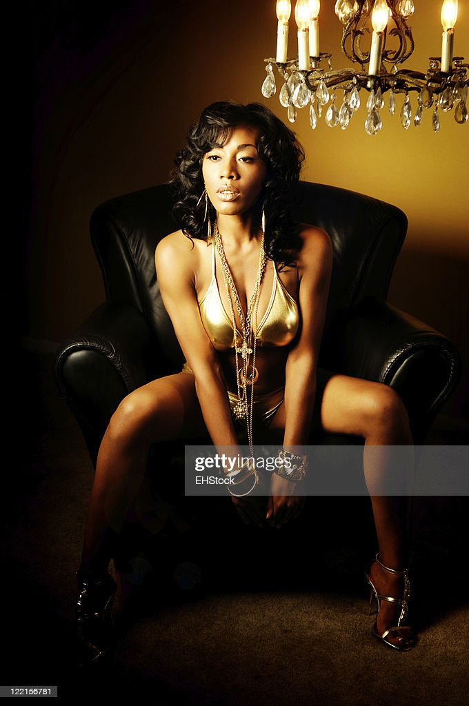 Young African American Bikini Model Gold Bling Chandelier Leather ...