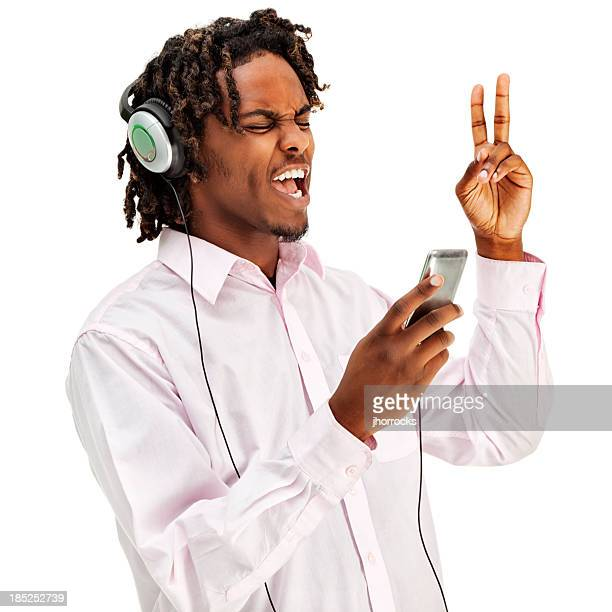 young african american male listening to music - handsome black boy stock photos and pictures