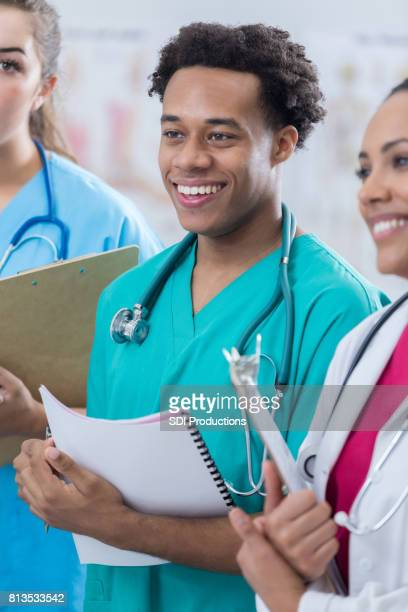 Young African American male medical intern