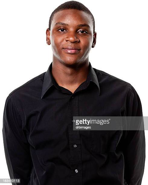 young african american male with a black shirt - zwart shirt stockfoto's en -beelden