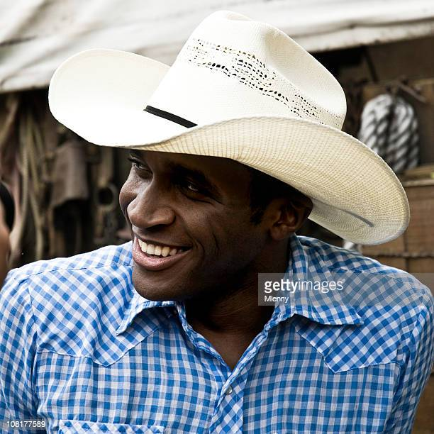 Young African- American Man Wearing Cowboy Hat