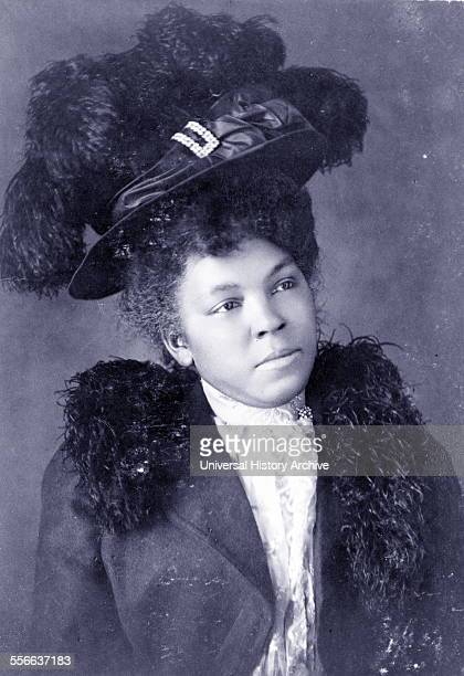 Young African American woman halflength portrait facing right wearing hat Published 1899 or 1900