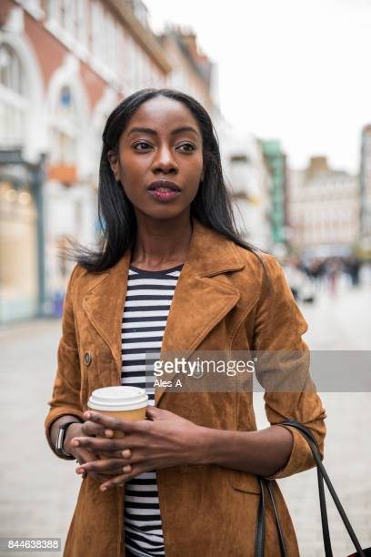 Young African American woman waiting for someone