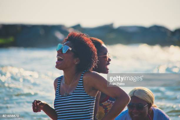 Young African American women at the beach.