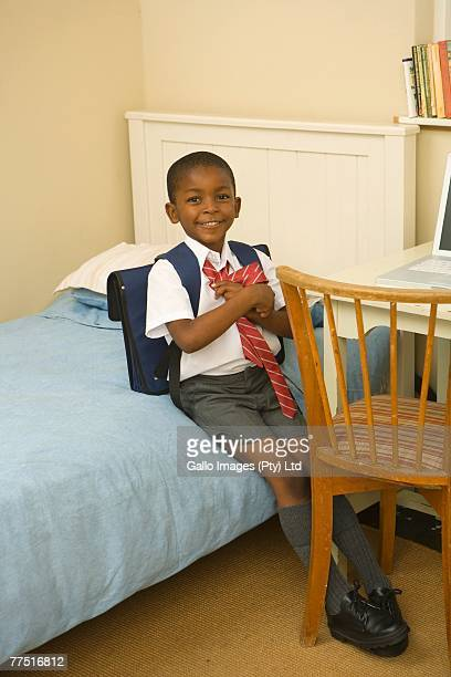 young african boy in his school uniform - nette schoen stockfoto's en -beelden