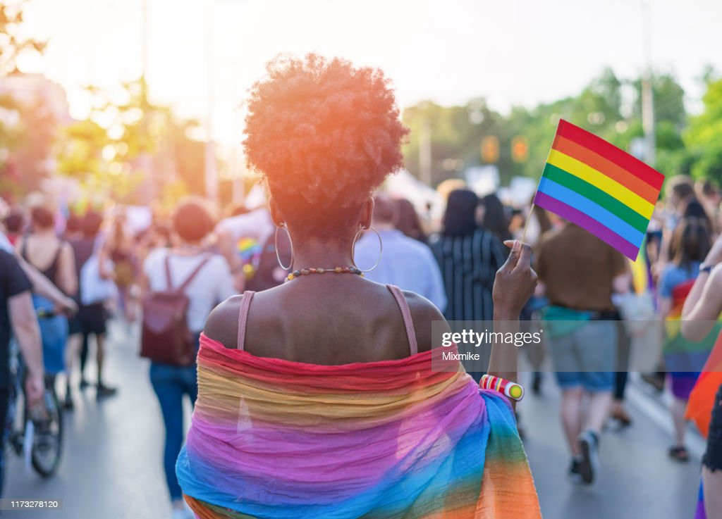 Young African ethnicity woman at the love festival : Stock Photo