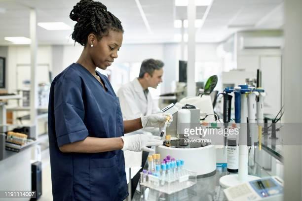 joven técnica de patología femenina africana que trabaja en el laboratorio - laboratorio clinico fotografías e imágenes de stock