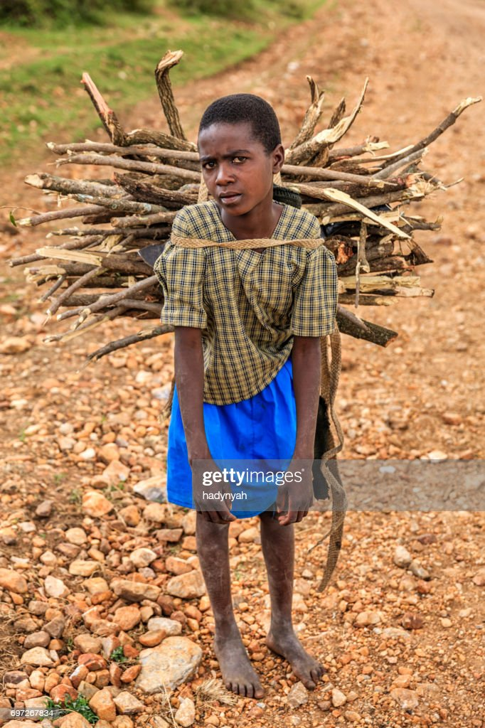 Young African girl carrying brushwood, southern Kenya, East Africa : Stock Photo