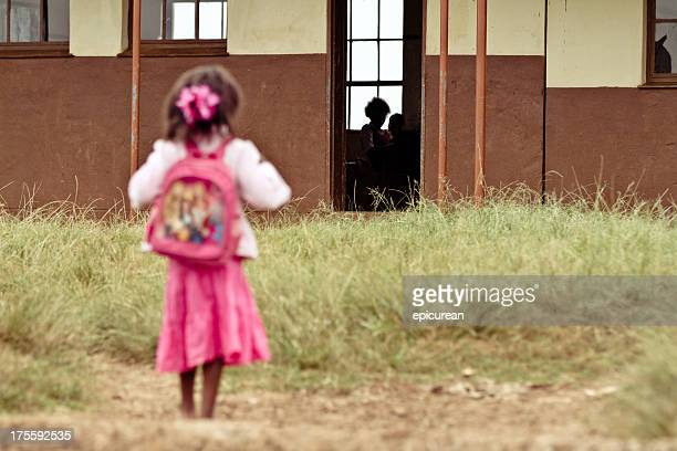 Young African girl nervous on her first day of school