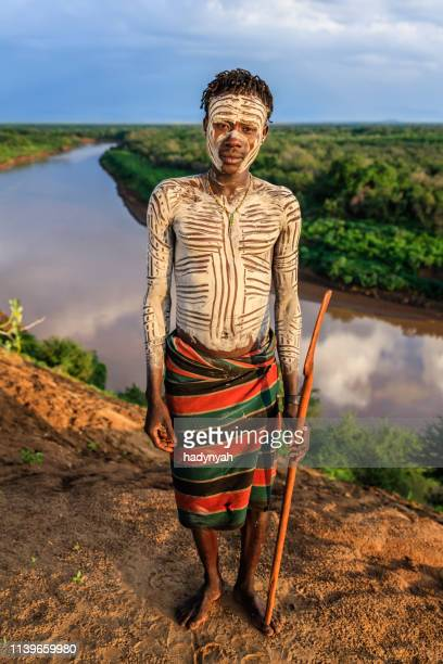 young african man from karo tribe, east africa - african tribal culture stock pictures, royalty-free photos & images
