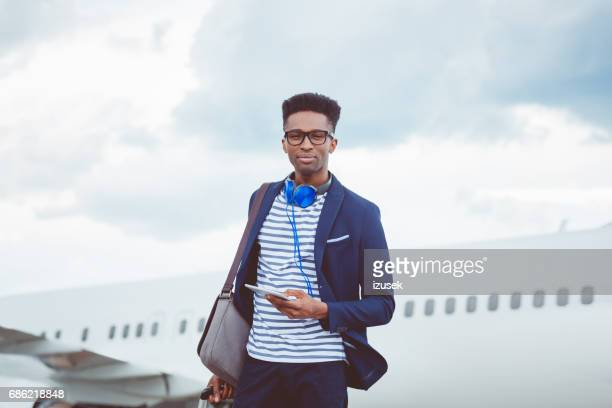 Young african man on business trip