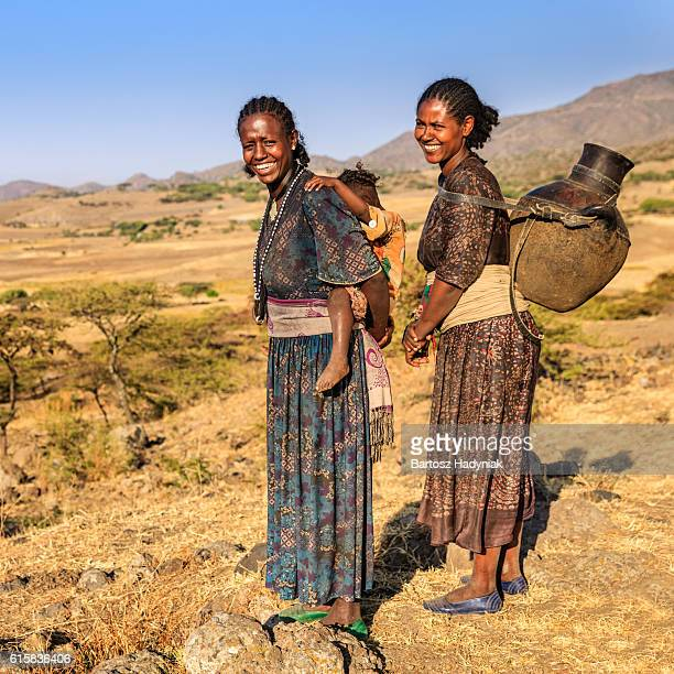 Young African women looking at view, Ethiopia, Africa