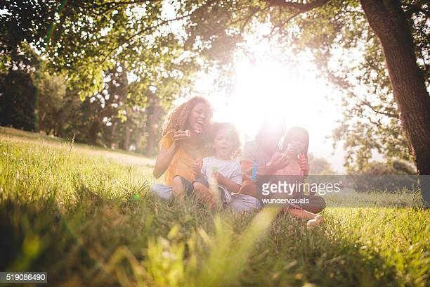 Young african-american family spending quality family time in pa