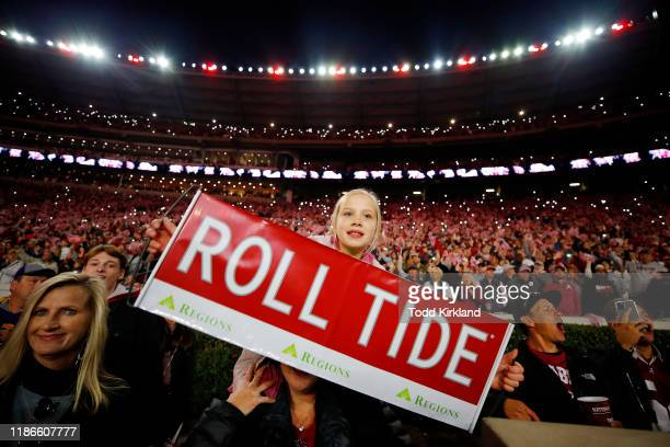 Young Alabama Crimson Tide fan holds a sign in the game between the LSU Tigers and the Alabama Crimson Tide at Bryant-Denny Stadium on November 09,...