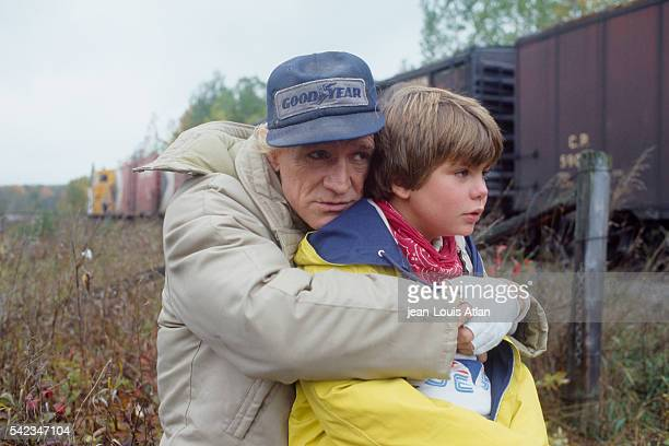 Young American actor Justin Henry on set of the movie Martin's Day with actor Richard Harris