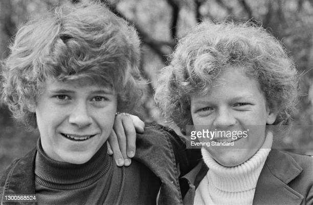 Young American actors Jeff East and Johnny Whitaker, stars of the musical film 'Tom Sawyer', UK, 26th April 1973. They play Huckleberry Finn and Tom...