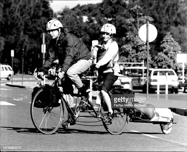 A young American couple and Baby arrived in Sydney today for a 4 week star part of a world cycling study tour Mr Scott Paisley 23 and his wife Marian...