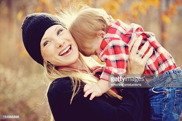 young american family autumn outdoors