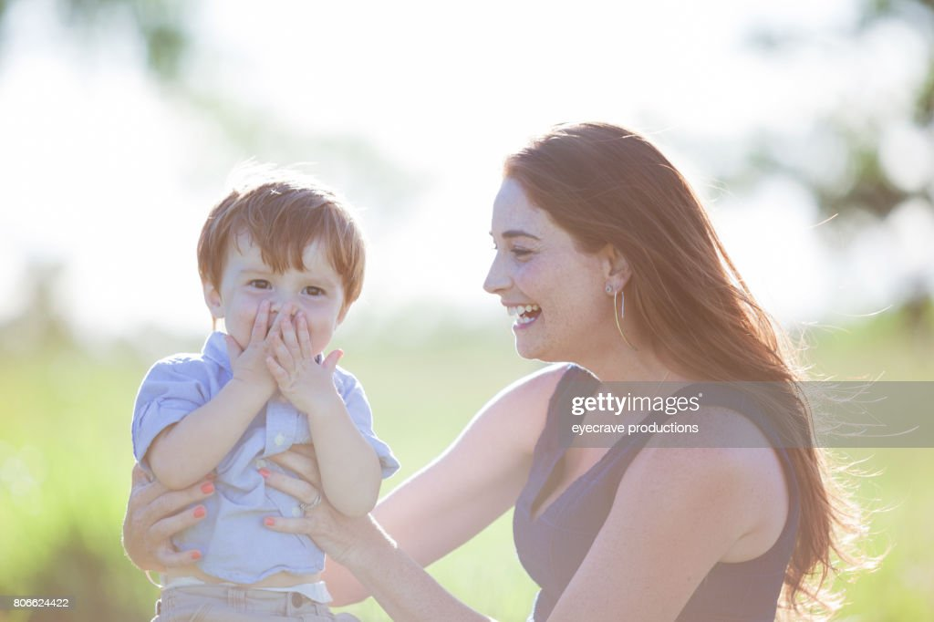 Young American Family Mother with boy child : Stock Photo