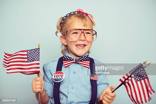 young american girl with american flags - president stockfoto's en -beelden