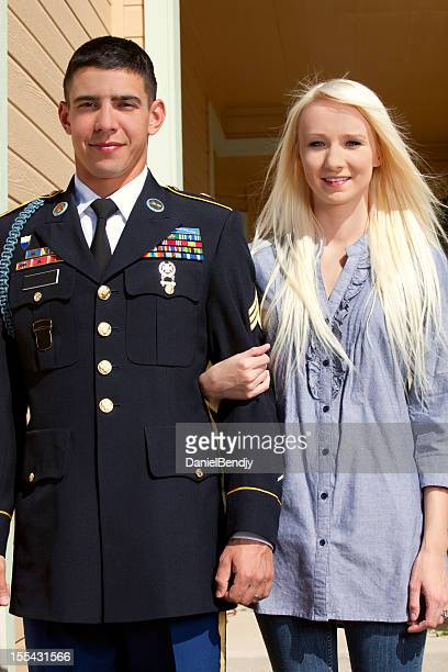 Young American Soldier in Dress Blue with Wife Outdoor