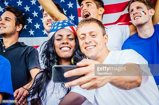Young American supporters Selfie at stadium
