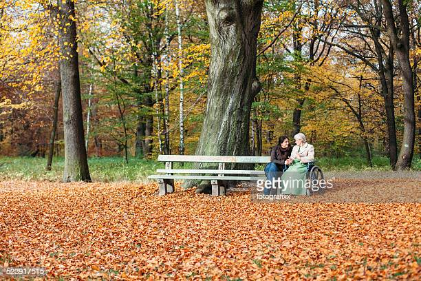 young and elderly woman in wheelchair together in autumn park