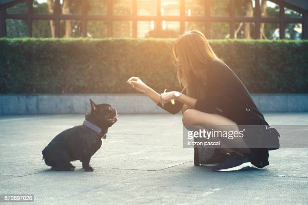 young and modern asian women playing with a cute french bull dog . .