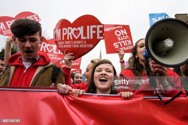 Young Antiabortion protestors from around the Ireland gather in for the AllIreland Rally for Life march to Save the 8th amendment to the Irish...