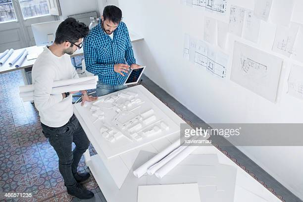 Young architect on a project