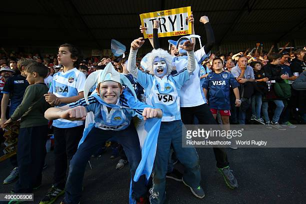 Young Argentina fans cheer on their team during the 2015 Rugby World Cup Pool C match between Argentina and Georgia at Kingsholm Stadium on September...