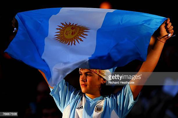 A young Argentinian fan holds his flag prior to match nine of the Rugby World Cup 2007 between Argentina and Georgia at the Gerland stadium on...