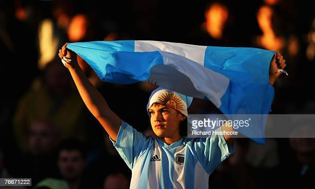 A young Argentinian fan holds his flag prior to the match nine of the Rugby World Cup 2007 between Argentina and Georgia at the Gerland stadium on...