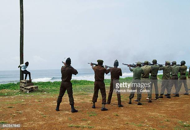 A young Armed Forces of Liberia soldier accused of looting and murder is shot by a firing squad in a public execution A percentage of soldiers...