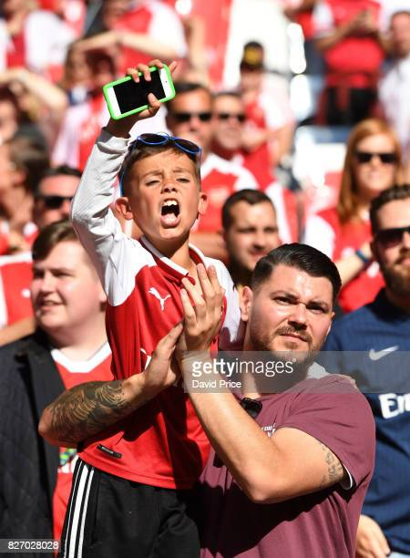 A young Arsenal fan after the match between Chelsea and Arsenal at Wembley Stadium on August 6 2017 in London England