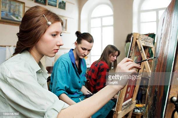 Young artists painting workshop