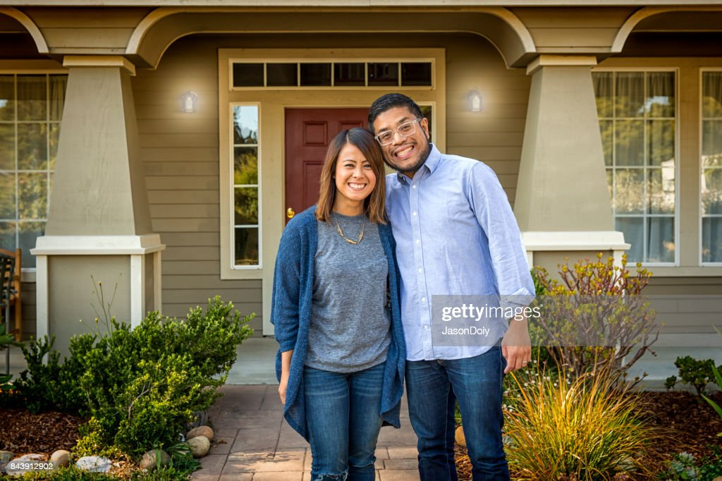 Young Asian American Couple at Home : Stock Photo
