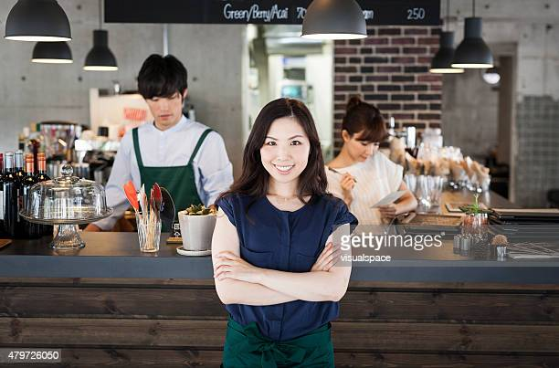 Young asian business woman in a restraurant