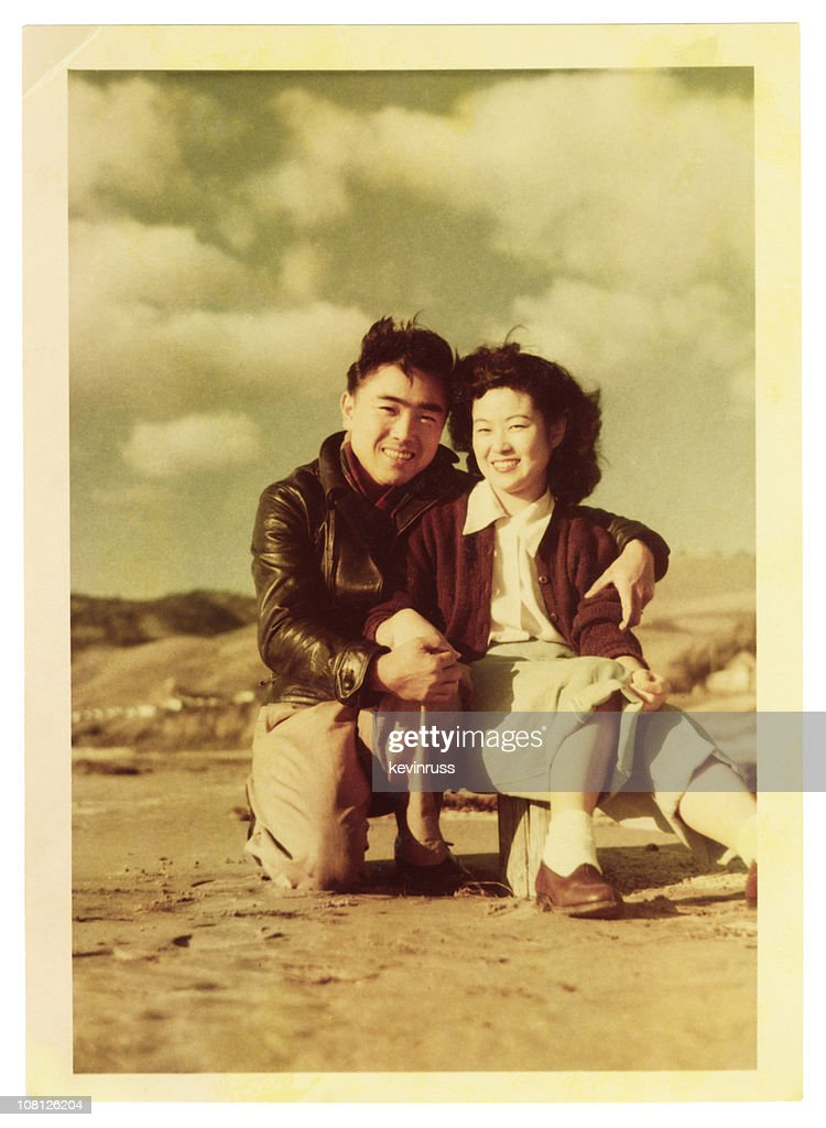 Young Asian Couple at the Beach : Stock Photo