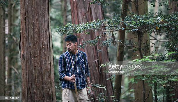 Young Asian Hiker in Woods