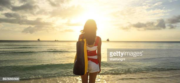 Young asian woman at beach