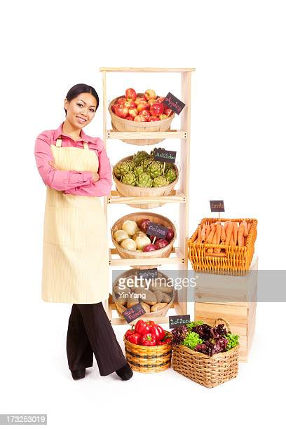 Young Asian Woman Small Business Grocery Store Owner on White