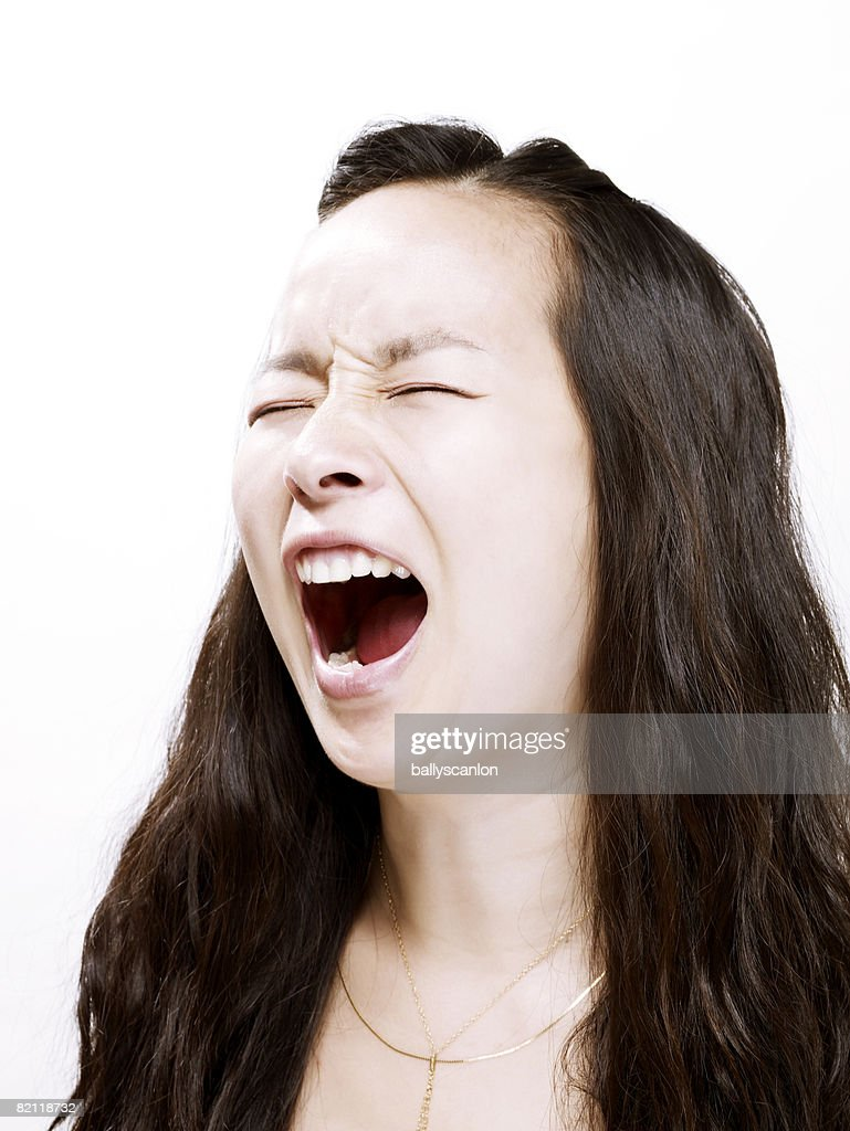 Asian lady screaming