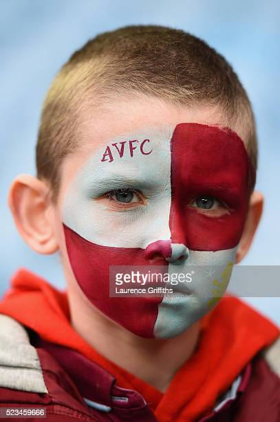 A young Aston Villa supporter wears face paint prior to the Barclays Premier League match between Aston Villa and Southampton at Villa Park on April...