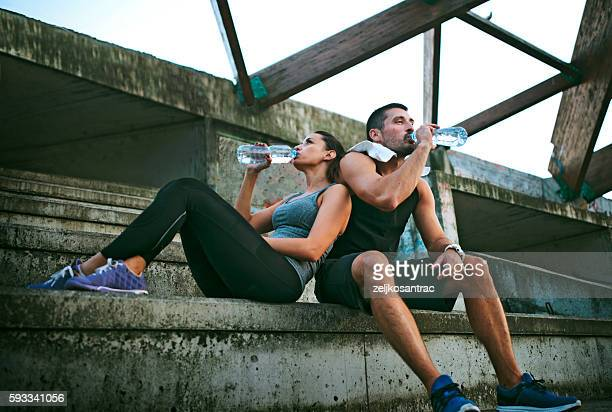 Young athlete people  resting from jogging.