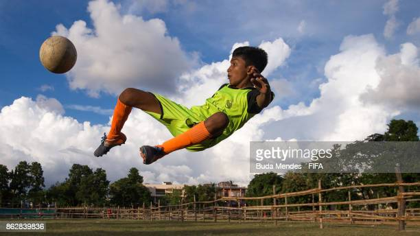 A young athlete plays football in a sport project developed at Bidhannagar ahead of the FIFA U17 World Cup India 2017 tournament on October 18 2017...