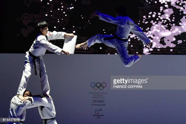 Young athletes perform during the opening ceremony of the 132nd IOC Session prior the Pyeongchang 2018 Winter Olympic Games on February 5 2018 in...